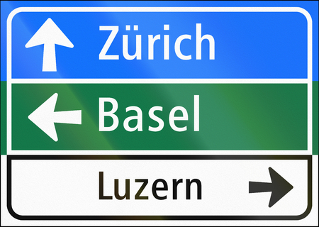 Road sign used in Switzerland - Guide signs. Stock Photo