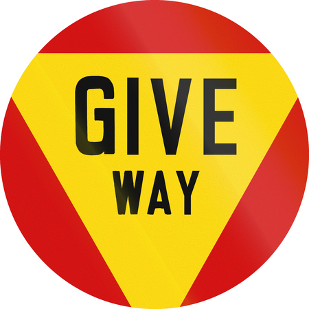 give way: Regulatory road sign in Zimbabwe - Give way.