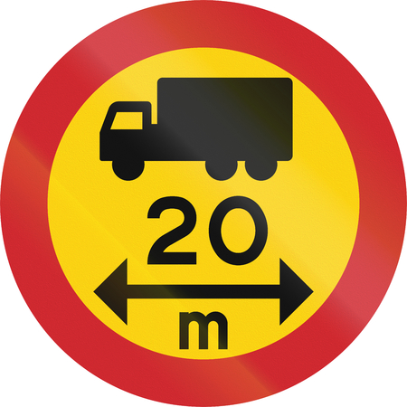 exceeding: Road sign used in Sweden - No vehicles or combination of vehicles exceeding 20 meters.