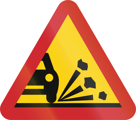 chippings: Road sign used in Sweden - Loose chippings. Stock Photo