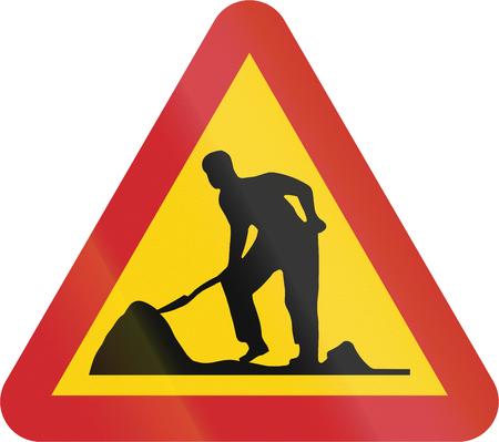 roadworks: Road sign used in Sweden - Roadworks.