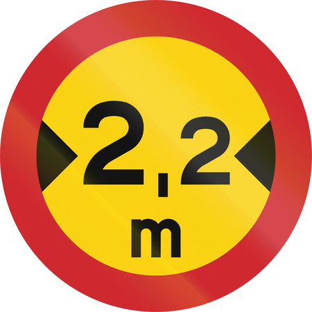 Road sign used in Sweden - No vehicles having an overall width exceeding 2.2 meters.