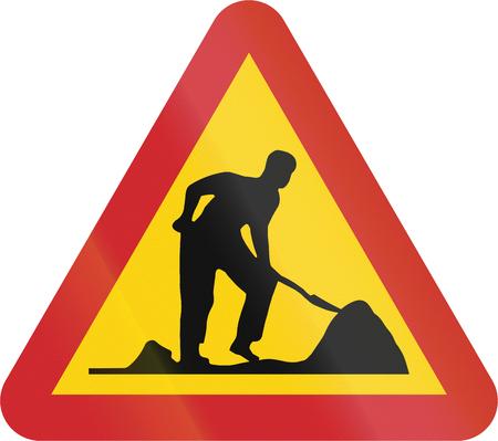 road works: Road sign used in Sweden - Road works.