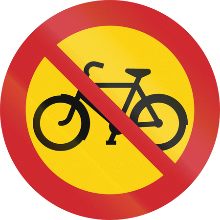 cicla: Road sign used in Sweden - No cycles or mopeds.