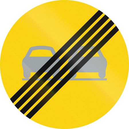 no overtaking: Road sign used in Sweden - End of overtaking restriction.