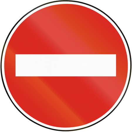 no entry: Road sign used in Slovakia - No entry. Stock Photo