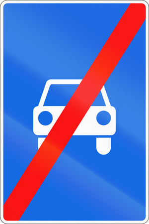 end of the road: Road sign used in Russia - End of limited-access road.