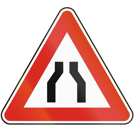 both sides: Road sign used in Slovakia - Road narrows from both sides.