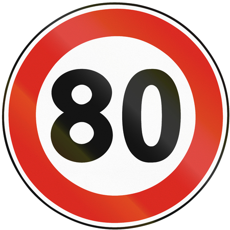 speed limit: Road sign used in Slovakia - Speed limit. Stock Photo