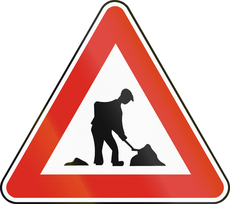 roadworks: Road sign used in Slovakia - Work. Stock Photo
