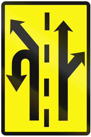 on temporary: Road sign used in Slovakia - use of the lanes in an intersection (temporary).