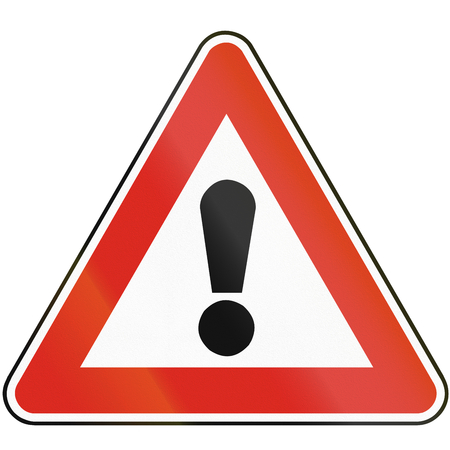 hazards: Road sign used in Slovakia - Other hazards. Stock Photo