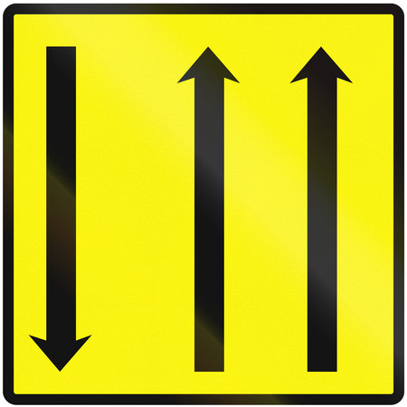 opposing: Road sign used in Slovakia - Using temporary lanes. Stock Photo
