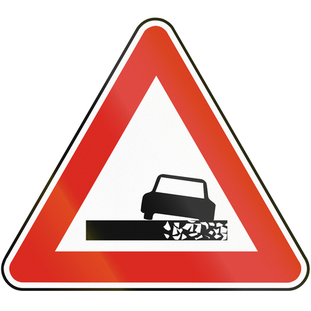 eastern europe: Road sign used in Slovakia - Dangerous roadside.