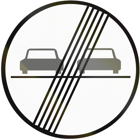 overtaking: Road sign used in Slovakia - End of no overtaking. Stock Photo