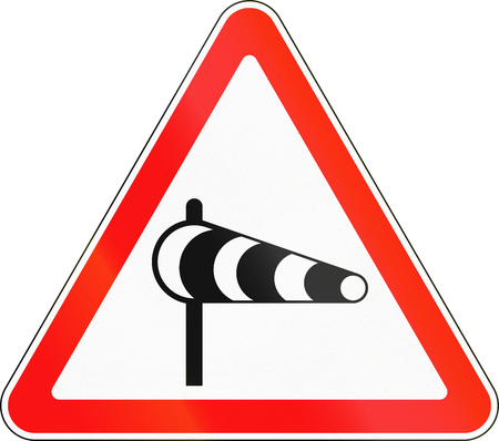 winds: Road sign used in Russia - Cross winds.