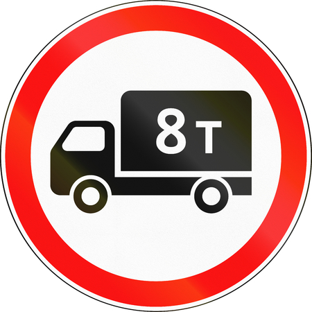 tons: Road sign used in Russia - Weight limit for lorries. Stock Photo