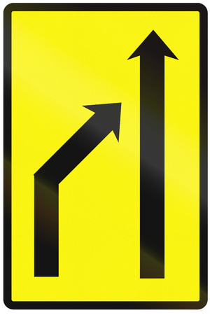 on temporary: Road sign used in Slovakia - Reduction of lanes available (temporary).