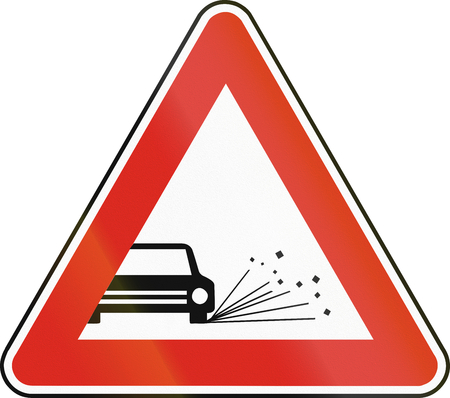 chippings: Road sign used in Slovakia - Loose chippings. Stock Photo