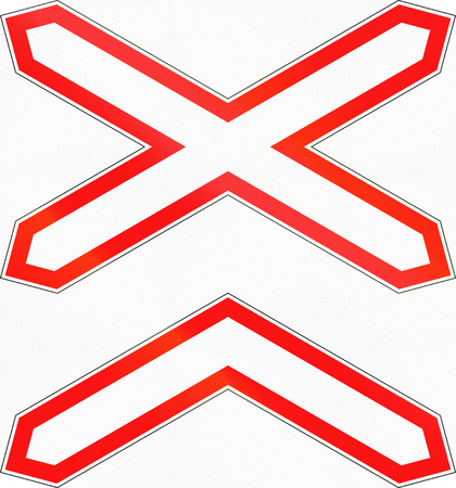 multiple images: Road sign used in Russia - Multiple tracks level crossing.