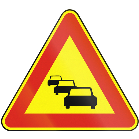 the traffic jam: Road sign used in Slovakia - Traffic jam (as a temporary sign). Stock Photo