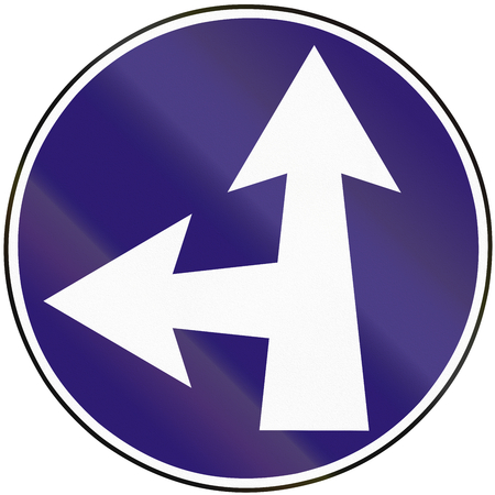 eastern europe: Road sign used in Slovakia - Straight or turn left. Stock Photo