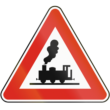 railroad crossing: Road sign used in Slovakia - Railroad crossing without gates.