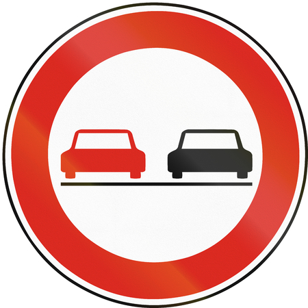 overtaking: Road sign used in Slovakia - No overtaking.