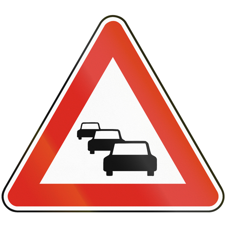 the traffic jam: Road sign used in Slovakia - Traffic jam. Stock Photo