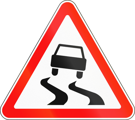 caution sign: Road sign used in Russia - Slippery road surface.