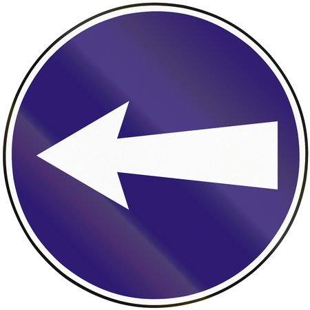 mandatory: Road sign used in Slovakia - Mandatory direction to the left.
