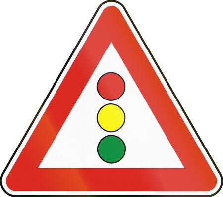 eastern europe: Road sign used in Slovakia - Traffic lights.