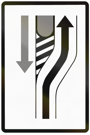 deviation: Road sign used in Slovakia - Lane deviation.