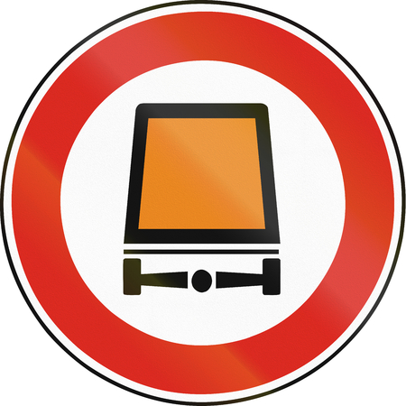 goods: Road sign used in Slovakia - No vehicles carrying dangerous goods. Stock Photo