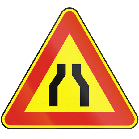 both: Road sign used in Slovakia - Road narrows from both sides (as a temporary sign).