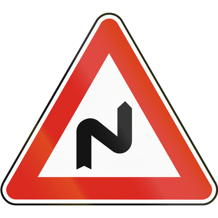 bend: Road sign used in Slovakia - Double bend, first to the right.