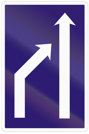 reduction: Road sign used in Slovakia - Reduction of lanes available.