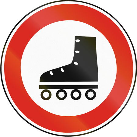 blading: Road sign used in Slovakia - No Roller Blading.