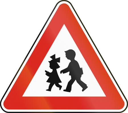 eastern europe: Road sign used in Slovakia - Children. Stock Photo
