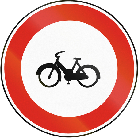 mopeds: Road sign used in Slovakia - No Mopeds.