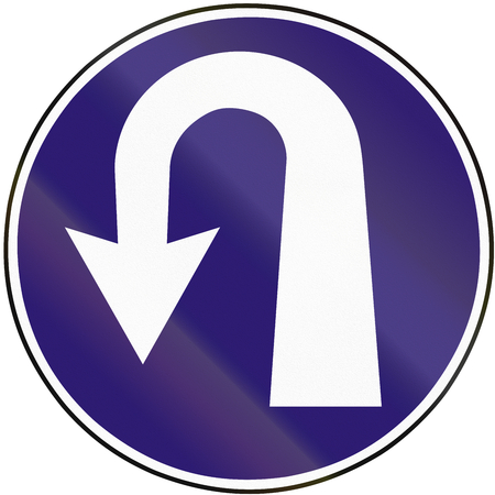 uturn: Road sign used in Slovakia - Obligation to reverse. Stock Photo