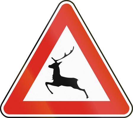 eastern europe: Road sign used in Slovakia - Deer crossing.