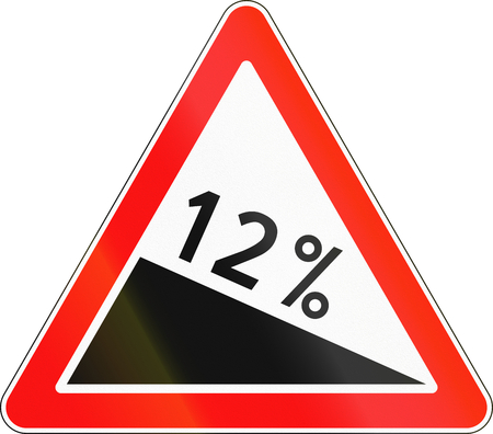 steep by steep: Road sign used in Russia - Steep descent. Stock Photo