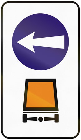 goods: Road sign used in Slovakia - Compulsory direction for vehicles with hazardous goods.