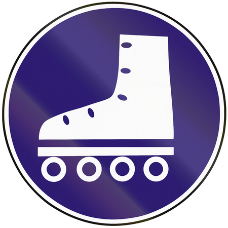 roller blade: Road sign used in Slovakia - Track for roller skates. Stock Photo