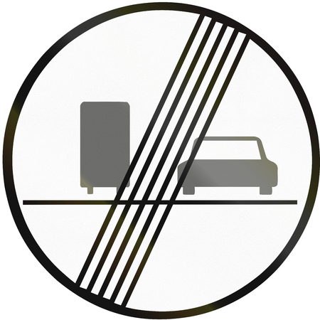 no overtaking: Road sign used in Slovakia - End of no overtaking for lorries.