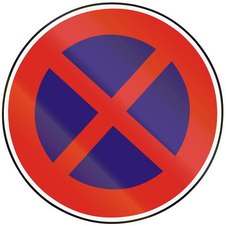 stopping: Road sign used in Slovakia - No stopping. Stock Photo