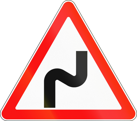 bends: Road sign used in Russia - Dangerous bends.