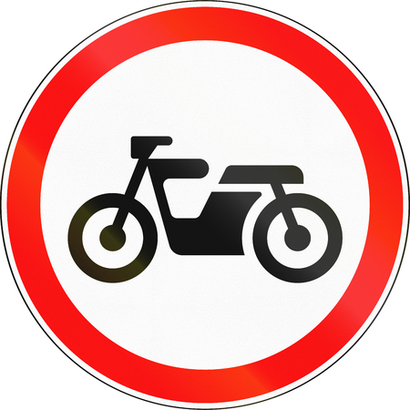 mopeds: Road sign used in Russia - No Mopeds. Stock Photo