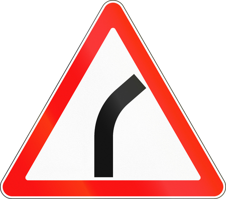 bend: Road sign used in Russia - Dangerous bend.